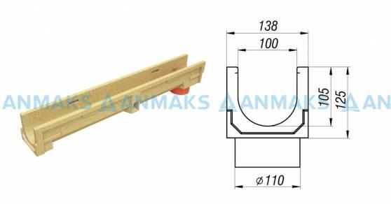 Лоток водоотводный CompoMax Basic ЛВ-10.14.13-ПВ полимербетонный с вертикальным водоотводом 70009