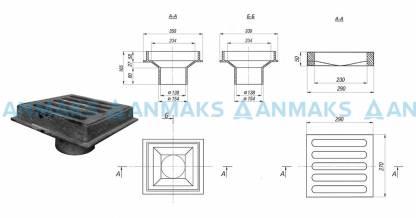 Водоотводное устройство ВУ-150 (Воронка водосточная чугунная ВР.330х350.165 с решеткой чугунной РВ.270х290.50)