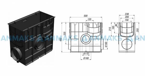 Схема: Пескоуловитель Gidrolica Standart ПУ-20.24,6.46 - пластиковый универсальный