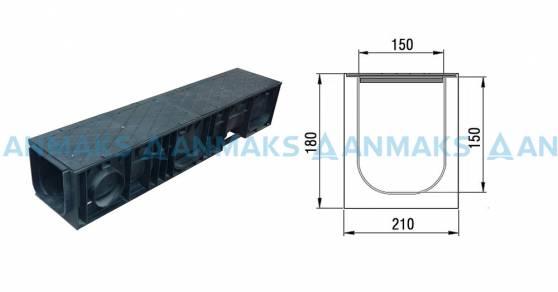 Схема: Комплект: Лоток полимерный ПЛ-200 с крышкой