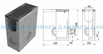 Пескоуловитель BetoMax ПУ–16.25.60-Б бетонный с решёткой щелевой чугунной ВЧ кл. Е (комплект)