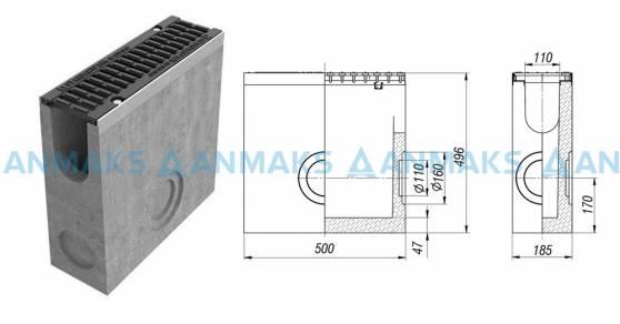 Пескоуловитель BetoMax ПУ-11.19.50-Б бетонный с решёткой щелевой чугунной ВЧ кл.Е (комплект)