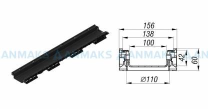 Лоток водоотводный PolyMax Basic ЛВ-10.15.06-ПП пластиковый