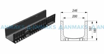 Лоток водоотводный Gidrolica Standart ЛВ-20.24,6.18,5 - пластиковый