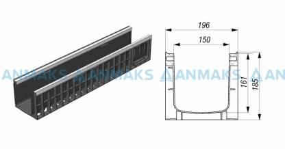 Лоток водоотводный Gidrolica Standart Plus ЛВ-15.19,6.18,5 - пластиковый (усиленный)