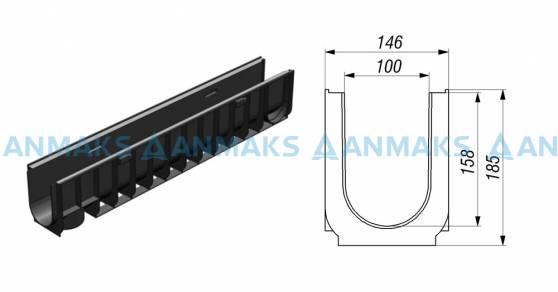 Лоток водоотводный Gidrolica Standart ЛВ-10.14,5.18,5 - пластиковый