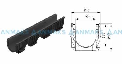 Лоток водоотводный PolyMax Basic ЛВ-15.21.20-ПП