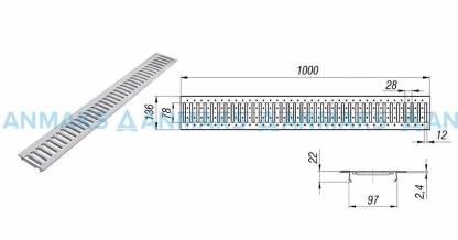Решетка водоприемная РВ -10.13,6.100 - штампованная стальная оцинкованная кл. А (нагрузка до 1,5 тонн)