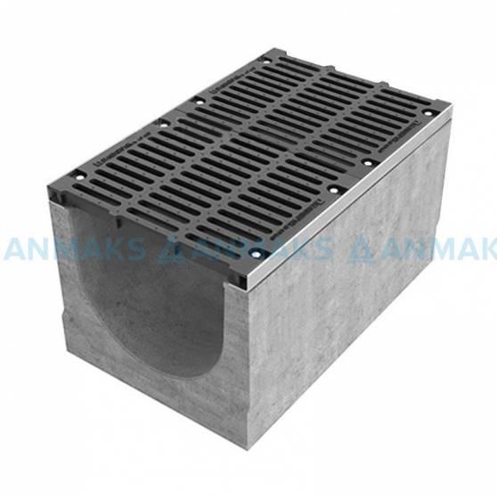 Лоток водоотводный BetoMax ЛВ-50.64.61-Б бетонный с решёткой щелевой чугунной ВЧ кл. Е (комплект) 04900