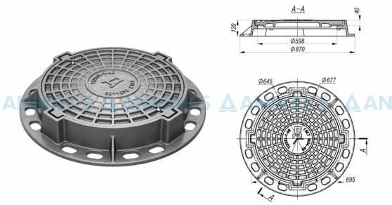 Чугунный люк тип Т (С250) 4-х ушковый ГОСТ 3634-99 схема