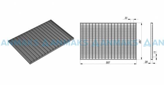 схема: Стальная придверная решетка 390х590 мм