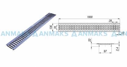 Решетка водоприемная РВ -10.13,6.100 - штампованная нержавеющая сталь кл. А (нагрузка до 1,5 тонн)