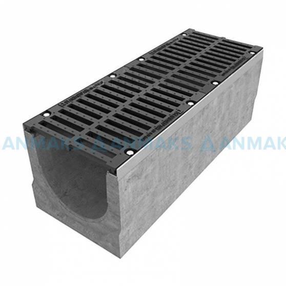 Лоток водоотводный BetoMax ЛВ-30.38.31-Б бетонный с решёткой щелевой чугунной ВЧ кл. Е (комплект) 04740