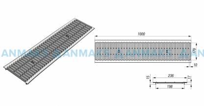 Решетка водоприемная РВ -20.23,6.100 - штампованная стальная оцинкованная кл. А (нагрузка до 1,5 тонн)