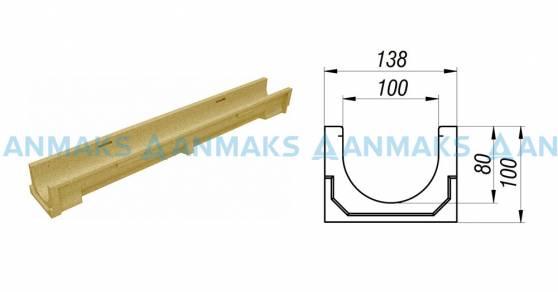 Лоток водоотводный CompoMax Basic ЛВ-10.14.10-П полимербетонный 7030