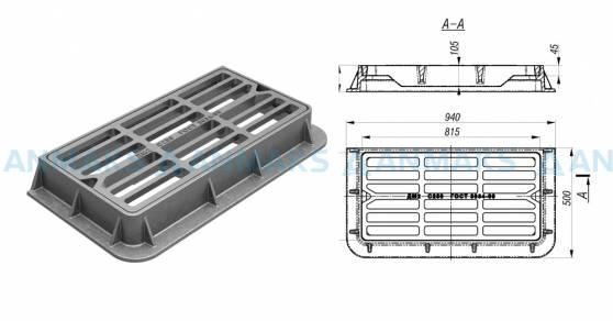 Чугунный дождеприемник ДМ-2 (С250) полосы прямые ГОСТ 3634-99 схема