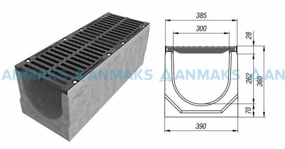 Схема: Лоток водоотводный BetoMax ЛВ-30.38.36-Б бетонный с решёткой щелевой чугунной ВЧ кл. Е (комплект) 04750