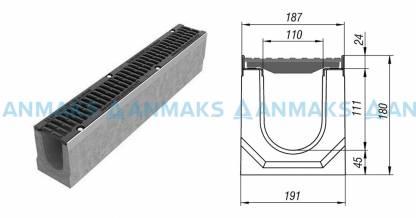 Лоток водоотводный BetoMax ЛВ-11.19.18-Б бетонный с решёткой щелевой чугунной ВЧ кл.Е (комплект) 04150
