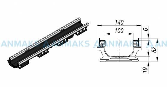 Лоток водоотводный PolyMax Basic ЛВ-10.16.08-ПП пластиковый усиленный 8017-M