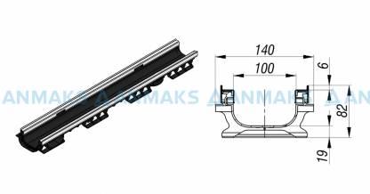 Лоток водоотводный PolyMax Basic ЛВ-10.16.08-ПП пластиковый усиленный