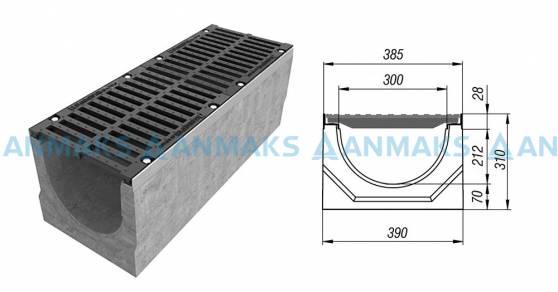 Схема: Лоток водоотводный BetoMax ЛВ-30.38.31-Б бетонный с решёткой щелевой чугунной ВЧ кл. Е (комплект) 04740