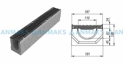 Лоток водоотводный BetoMax ЛВ-11.19.13-Б бетонный с решёткой щелевой чугунной ВЧ кл.Е (комплект) 04140