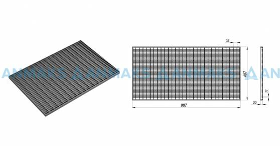 Схема: Стальная придверная решетка 490х990 мм