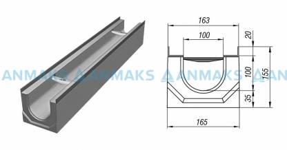 Лоток водосточный ЛВК ВМ Light 100 №0/0 без внутреннего уклона