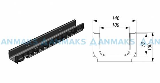 Лоток водоотводный Gidrolica Standart ЛВ-10.14,5.10 - пластиковый