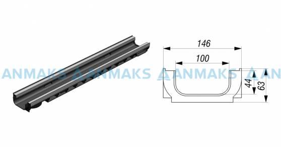 Лоток водоотводный Gidrolica Standart Plus ЛВ-10.14,5.06 - пластиковый (усиленный)