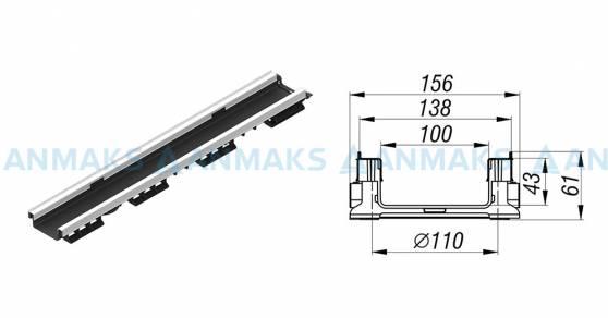 Схема: Лоток водоотводной PolyMax Basic ЛВ-10.15.06-ПП-Ус пластиковый усиленный 8057