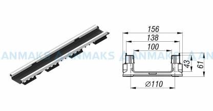 Лоток водоотводной PolyMax Basic ЛВ-10.15.06-ПП-Ус пластиковый усиленный