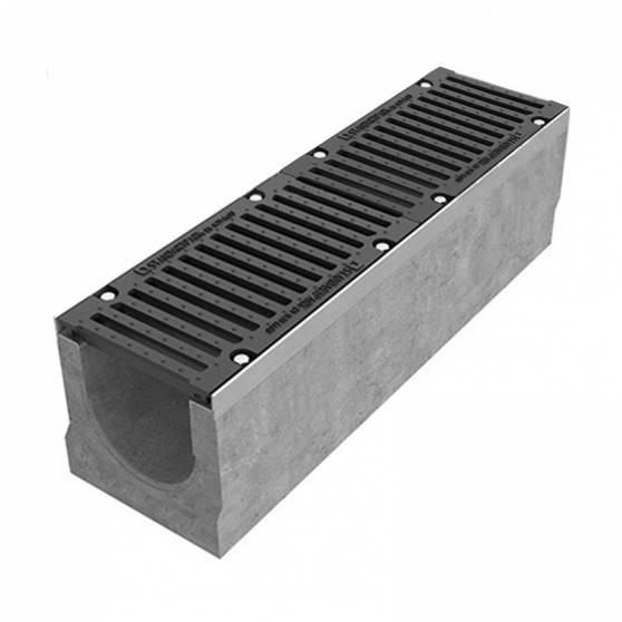 Лоток водоотводный BetoMax ЛВ-20.29.33-Б бетонный с решёткой щелевой чугунной ВЧ кл. Е (комплект) 04500