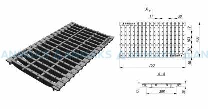 Решетка водоприемная – 75.40 – щелевая чугунная ВЧ50 , кл. D