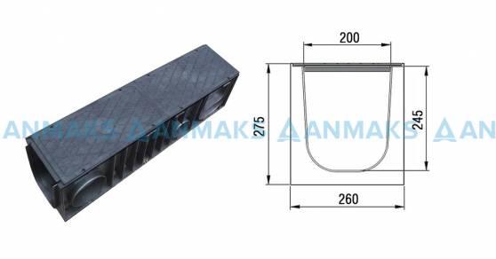 Схема: Комплект: Лоток полимерный ПЛ-300 с крышкой