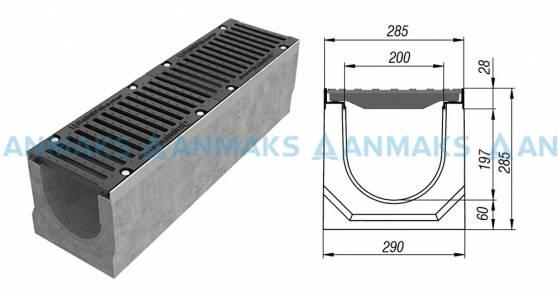 Лоток водоотводный BetoMax ЛВ-20.29.28-Б бетонный с решёткой щелевой чугунной ВЧ кл. Е (комплект) 04550
