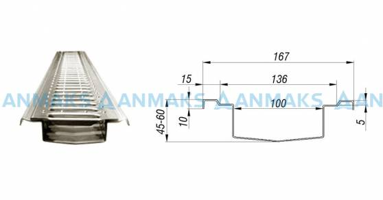 Лоток водоотводный  АМ 100 мм из нержавеющей стали