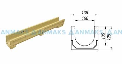 Лоток водоотводный CompoMax Basic ЛВ-10.14.13-П полимербетонный