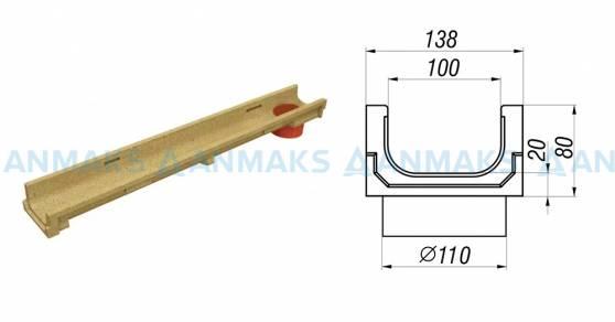 Схема - лоток водоотводный CompoMax Basic ЛВ-10.14.08-ПВ полимербетонный