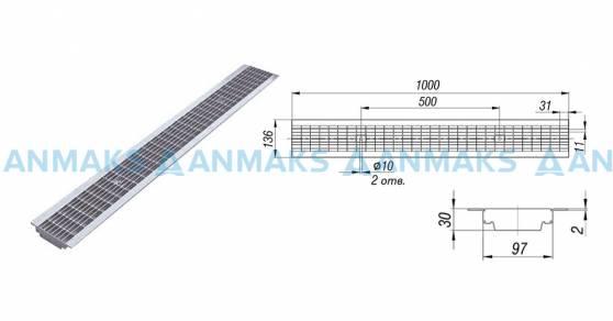 Решетка водоприемная РВ -10.13,6.100 - ячеистая стальная оцинкованная кл. В