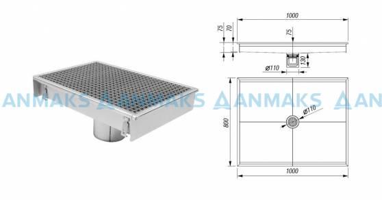 Схема 2: Трап для кухни 800х1000 мм с вертикальным выпуском Ф110 мм в комплекте с гидрозатвором, уловителем механических примесей и покрытием