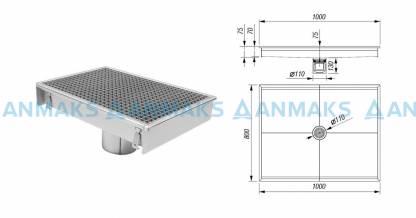 Трап для кухни 800х1000 мм с вертикальным выпуском Ф110 мм в комплекте с гидрозатвором, уловителем механических примесей и покрытием