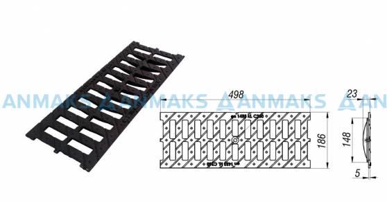 Схема: Решетка водоприемная РВ -15.18,6.50 - щелевая чугунная ВЧ, кл. С250