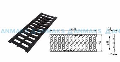 Решетка водоприемная  РВ -15.18,6.50 - щелевая чугунная ВЧ, кл. С250
