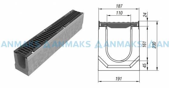 Лоток водоотводный BetoMax ЛВ-11.19.23-Б бетонный с решёткой щелевой чугунной ВЧ кл.Е (комплект) 04100