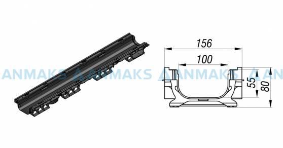 Схема: Лоток водоотводный PolyMax Basic ЛВ-10.16.08-ПП пластиковый 8010-M