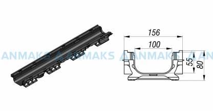 Лоток водоотводный PolyMax Basic ЛВ-10.16.08-ПП пластиковый