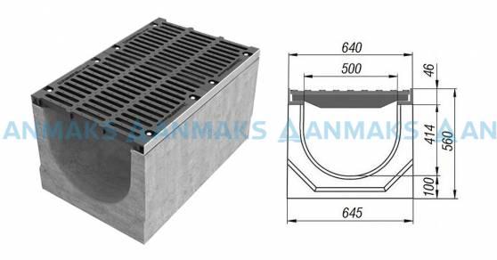 Схема: Лоток водоотводный BetoMax ЛВ-50.64.56-Б бетонный с решёткой щелевой чугунной ВЧ кл. Е (комплект) 04950