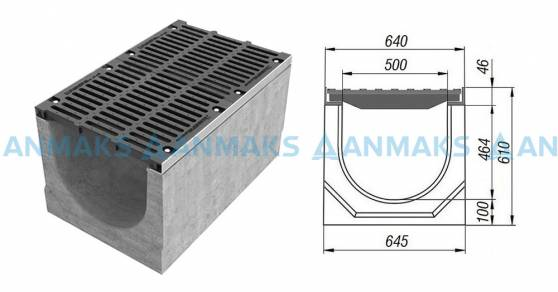 Схема: Лоток водоотводный BetoMax ЛВ-50.64.61-Б бетонный с решёткой щелевой чугунной ВЧ кл. Е (комплект) 04900
