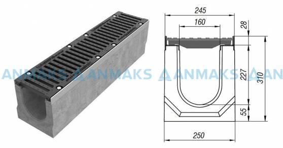 Лоток водоотводный BetoMax ЛВ-16.25.31-Б бетонный с решёткой щелевой чугунной ВЧ кл. Е (комплект) 04300